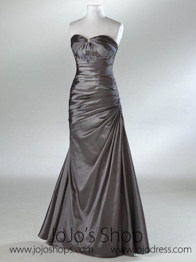 Silver Slim A-Line Ruched Formal Prom Evening Dress HB2013A