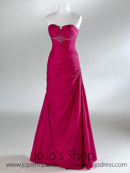 Hot Pink Fuschia Ruched Formal Prom Evening Dress HB2013B