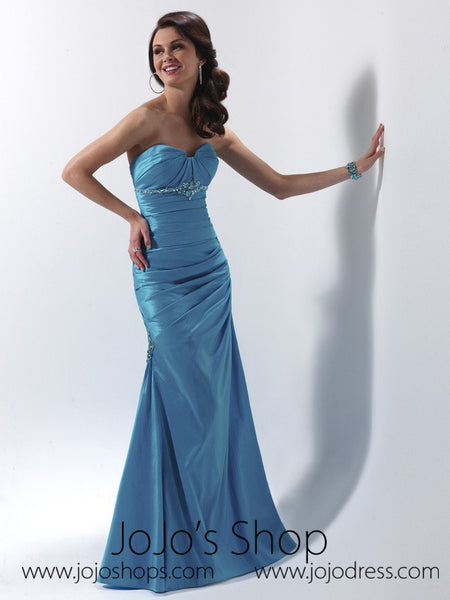 Blue Strapless Graduation Prom Formal Dress HB2013D