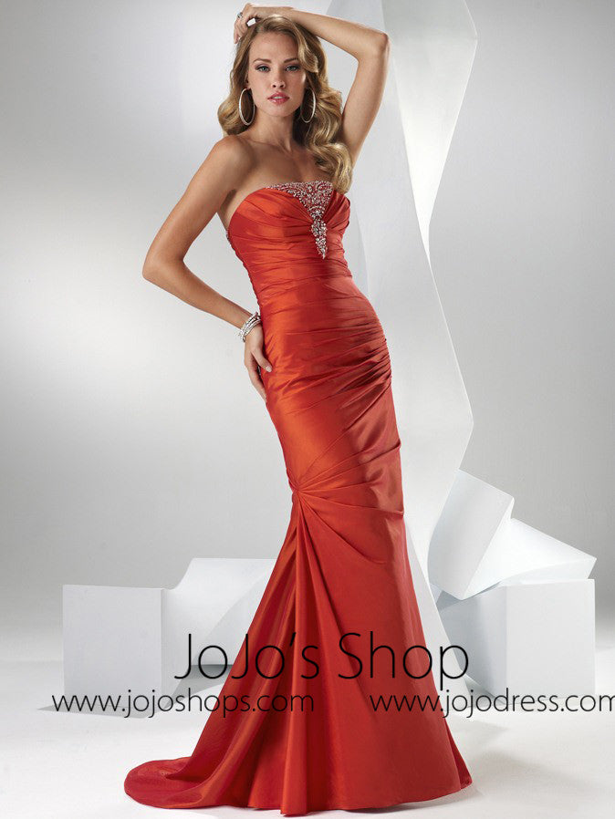 Hot Orange Formal Prom Evening Graduation Dress HB2015C
