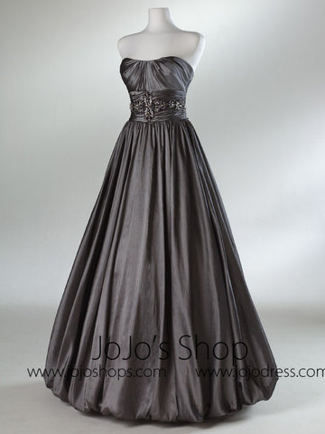 Gray Ball Gown Bubble Hem Formal Graduation Prom Evening Dress HB2016B
