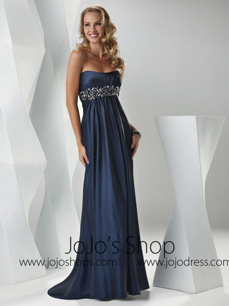 Navy Blue Empire Prom Formal Graduation Dress HB2017B