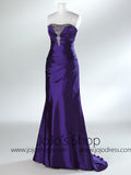 Purple Strapless Fit And Flare Formal Prom Evening Dress HB2019A