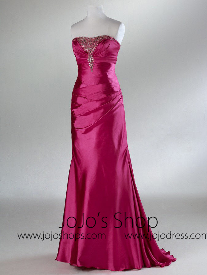 Fuschia Strapless Satin Sleek Classy Prom Formal Dress HB2019B