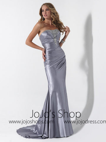 Silver Fit And Flare Formal Prom Evening Dress HB2019C