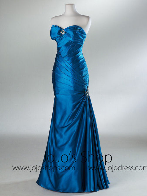 Blue Fit And Flare Graduation Prom Dress HB2021A