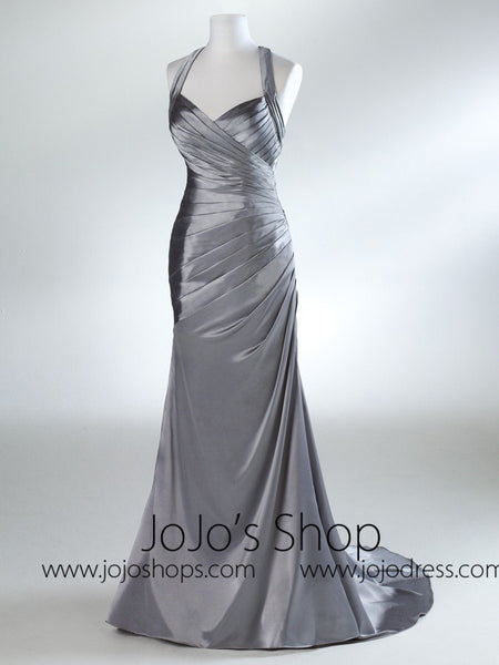 Silver Straped Formal Prom Evening Bridesmaid Dress HB2022C