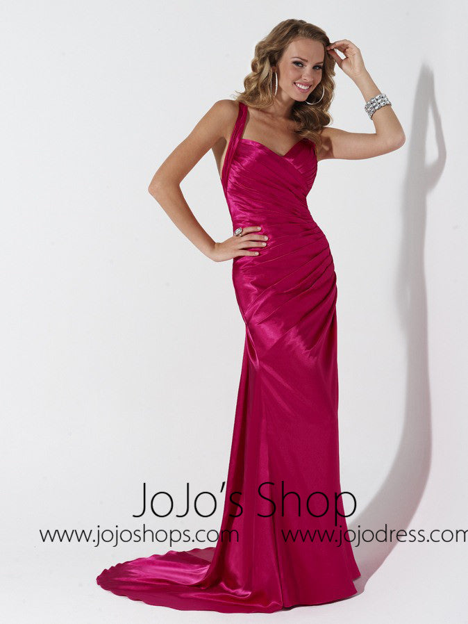 Red Cross Back Formal Prom Evening Bridesmaid Dress HB2022D