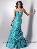 Blue Turquoise Strapless Graduation Prom Formal Dress HB2023C