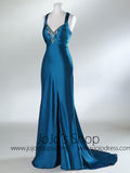 Blue Cross Back Side Slit Empire Formal Prom Evening Dress HB2024A