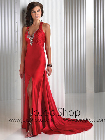 Orange Side Slit Cross Back Formal Evening Dress HB2024B
