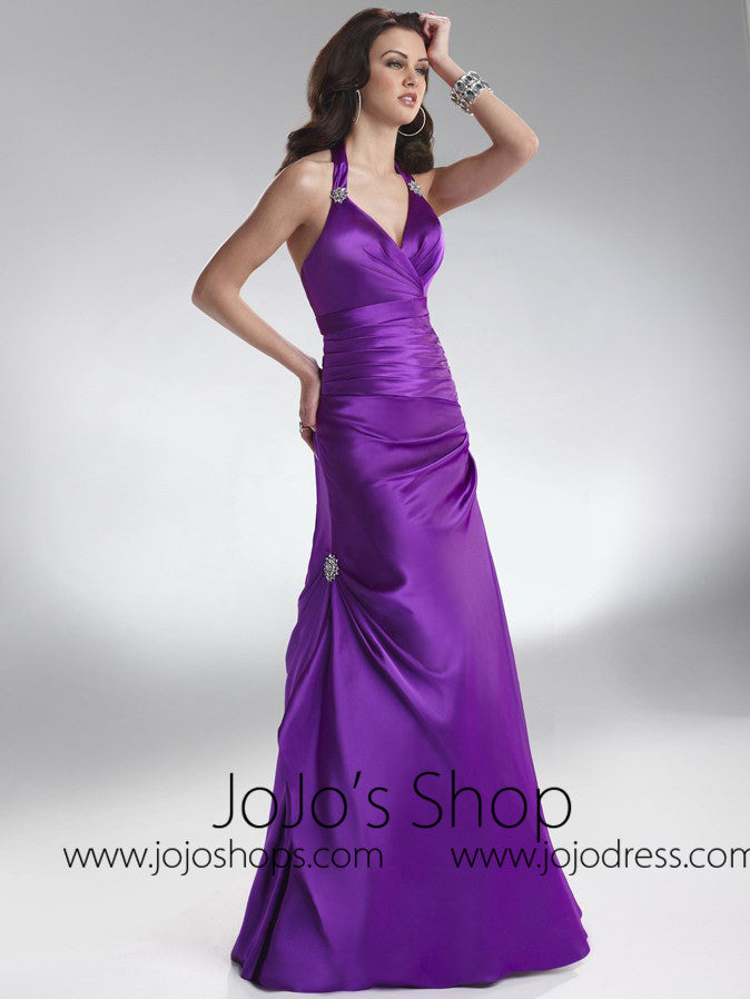 Purple Halter Formal Prom Bridesmaid Dress HB2027C