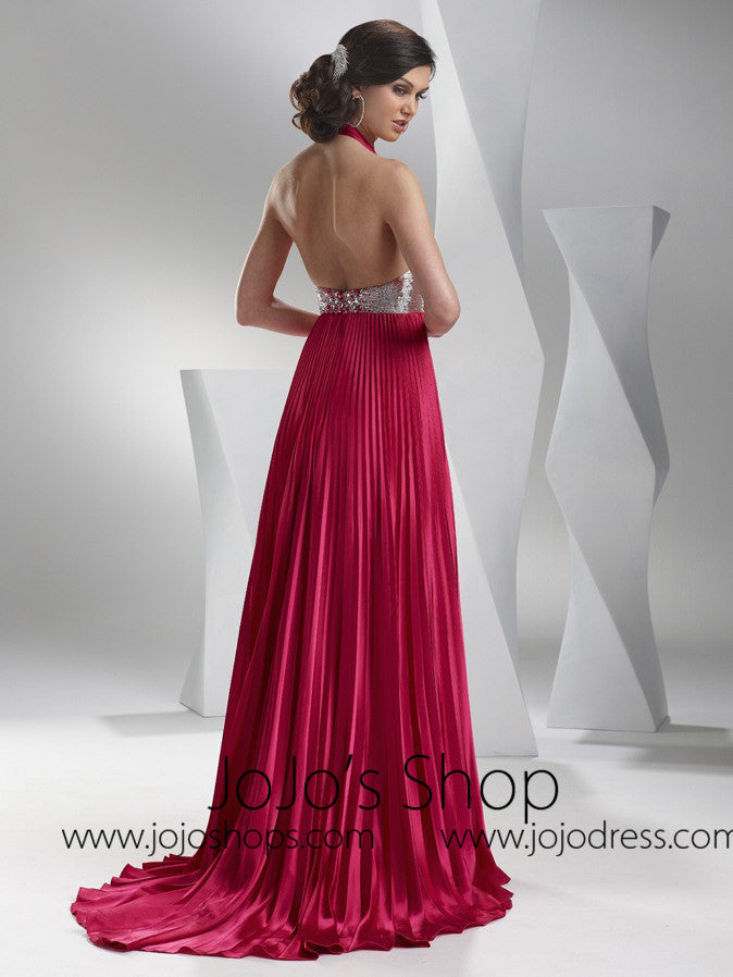 Fuschia Grecian Graduation Military Ball Gown Dress HB2028B