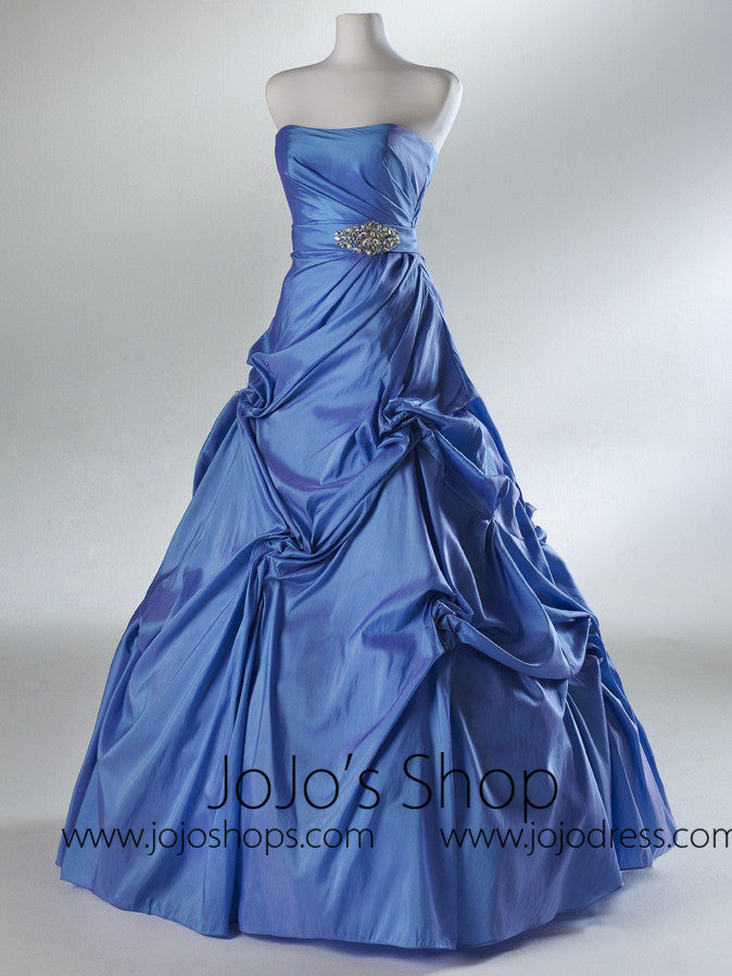 Blue Pick Up Ball Gown Prom Formal Dress HB2029B