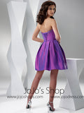 Purple Short Cocktail Prom Formal Bridesmaid Dress HB2032C