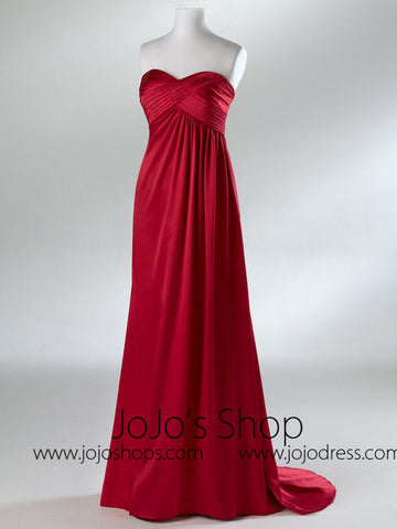 Red Empire Waist Military Ball Gown  HB2034B