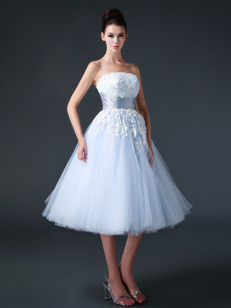 Blue Retro 50s Tea Length Prom Dress Formal Dress CC3005