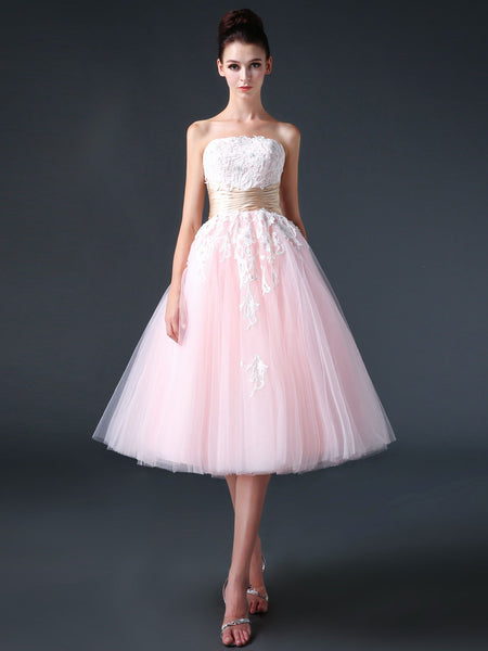 Retro 50s Strapless Pink Tea Length Prom Dress Evening Dress | CS3006