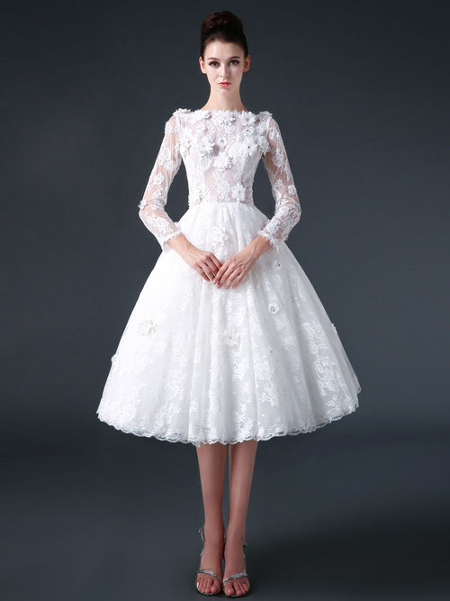 Modest Knee Length Lace Wedding Dress with Flowers