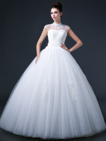 Princess Debutante Ball Gown Wedding Dress with Mandarin Collar and Keyhole