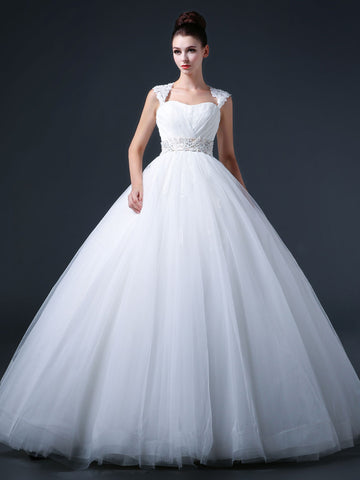 Princess Ball Gown Wedding Dress with Keyhole Back CC3009