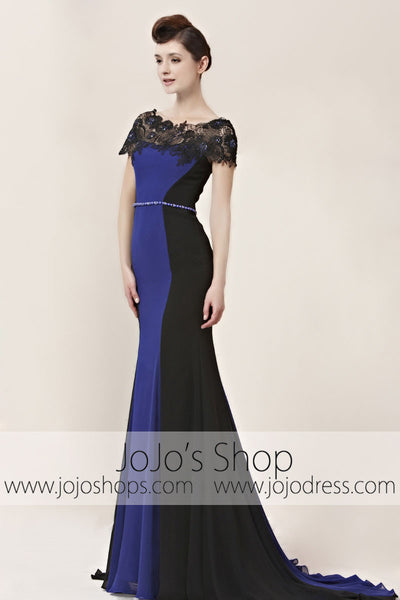Purple Modest Lace Sleek Black Tie Formal Evening Cocktail Dress CX830016