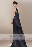 Navy Blue Grecian One Shoulder Goddess Military Evening Cocktail Dress CX830020