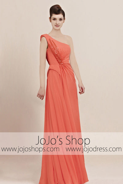 Orange One Shoulder Prom Formal Bridesmaid Evening Cocktail Dress CX830050