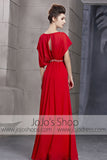 Crimson Red Chiffon Retro Kimono Style Evening Cocktail Dress CX830080