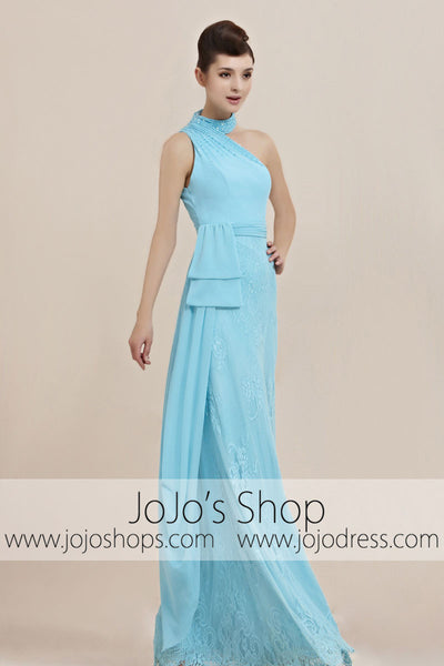 Turquiose Blue Halter Floor Length Prom Evening Cocktail Dress CX830081