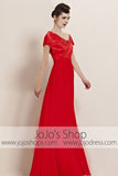 Red Slim Short Sleeves Stylish Runway Evening Cocktail Dress CX830088