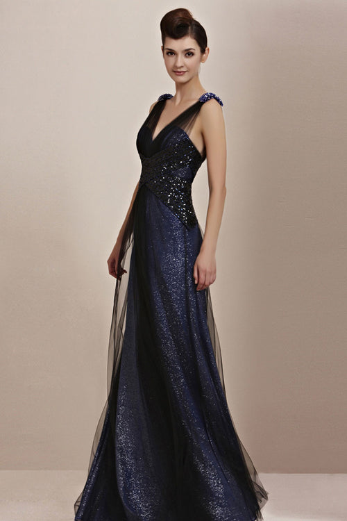 Midnight Navy Blue Elegant Low Back Pageant Black Tie Evening Cocktail Dress CX830091