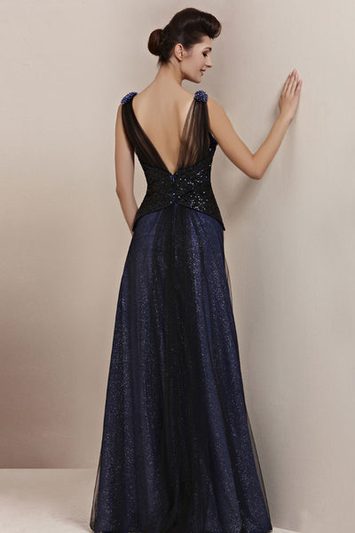 Midnight Navy Blue Elegant Low Back Pageant Black Tie