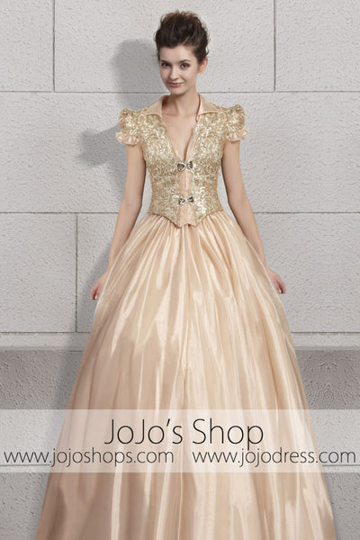Gold Princess Puff Sleeves Sweet Prom Formal Evening Cocktail Dress CX830096