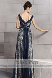 Grecian Alluring Navy Blue Lace V Neck Prom Evening Cocktail Dress CX830099