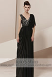 Grecian Black Low Back V Neck Elegant Evening Cocktail Dress CX830100