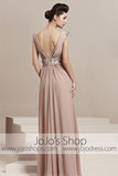 Short Sleeves V Neck Beige Graduation Stage Evening Cocktail Dress CX830102