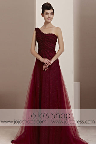 Grecian One Shoulder Burgundy Red Prom Wedding Evening Cocktail Dress CX830111