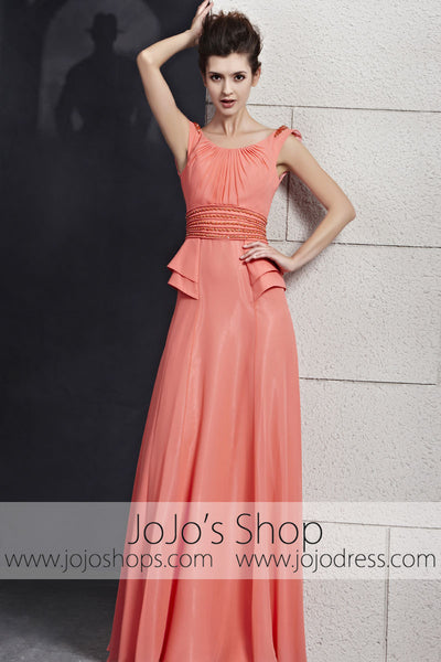 Grapefruit Pink Scoop Neck Low Back Prom Evening Cocktail Dress CX830131