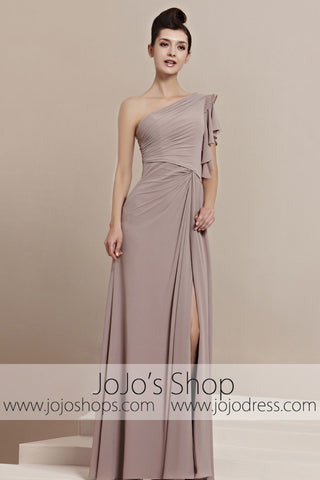 Grecian Tan One Shoulder Slit Home Coming Prom Evening Cocktail Dress CX830153