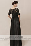 Modest Mid Sleeves Black Lace Home Coming Formal Evening Cocktail Dress CX830155