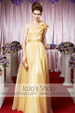 Grecian Yellow One Shoulder Elegant Prom Formal Evening Dress CX830266