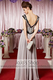 Silver V Neck V Back Chiffon Elegant Prom Formal Evening Dress CX830288