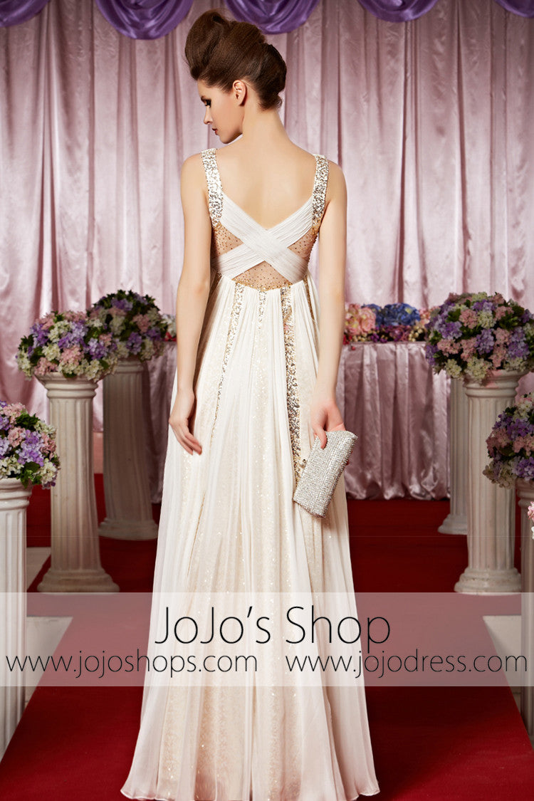 Ivory Deep V Sexy Chiffon Long Elegant Prom Formal Evening Dress CX830308