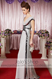 Silver V Neck Chiffon Long Elegant Prom Formal Evening Dress CX830309