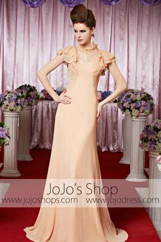 Peach Retro 1920S Victorian Modest Lace Elegant Prom Formal Evening Dress CX830312