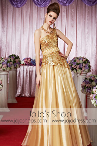 Gold Grecian One Shoulder Classy Elegant Prom Formal Evening Dress CX830318