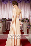 Grecian Champagne One Shoulder Chiffon Elegant Prom Formal Evening Dress CX830321