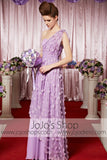 Grecian Purple Violet Floral One Shoulder Elegant Prom Formal Evening Dress CX830323