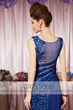 Royal Blue Sparkly Jewel Neck Modest Elegant Prom Formal Evening Dress CX830331